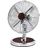 Optimus F-8121 12-Inch Oscillating 3-Speed Fashion Table Fan, Chrome with Red Wood Accent