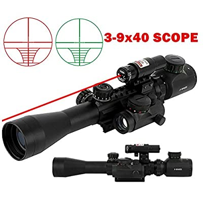 Beileshi 3 in 1 Combo 3-9x40 Tactical Hunting Rifle Scope with Red Laser & Red Dot Sight of Red / Green Reticle Mount by Beileshi