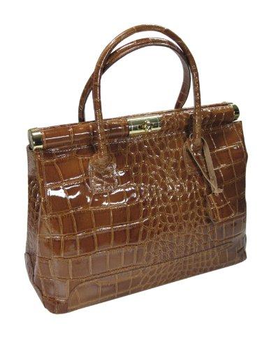 Zum Verkauf Online Italienische Leder Handtasche cognac braun lack XL in Kroko-Prägung