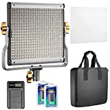 Neewer Dimmable Bi-color 480 LED Video Light CRI 96+ 3200-5600K with U Bracket,2 Pieces Rechargeable Li-ion Battery and USB Charger for DSLR Camera Photo Studio Photography,YouTube Video Shooting (Color: black, Tamaño: 480 LED Kit)