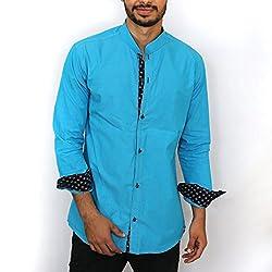 Magnoguy Men's Cotton Casual Shirt- CS201512SKYB-XL