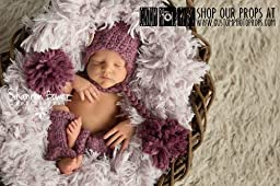 Loganberry Double Pom Chunky Newborn Hat Photography Prop, Baby Props, Newborn Prop, Photo Props, Handmade Hat