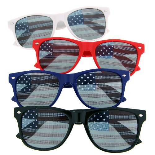 Usa American Flag Sunglasses Glasses Patriot Shades July Independence (4 Pack)