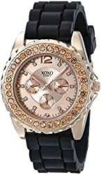 XOXO Women's XO8045 Rhinestone Accent Black Silicone Strap Watch