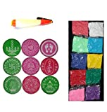 Ratna Handicrafts Ready to Draw Rangoli making Kit with 10 Color 2 in 1 Pen