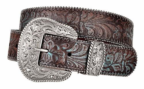 Western Scroll Buckle with Turquoise Tinted Embossed Brown Leather Belt (M) (Southwestern Belt Buckle compare prices)