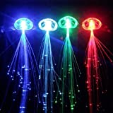 Accessotech 2x LED Hair Extensions Girls Gift Party Bag Clip Pony Tail Fiber Optic Light Up