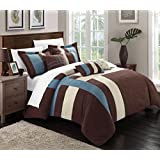 Chic Home Regina 7-Piece Plush Microsuede Comforter Set, Includes Bed in A Bag, 2-Sham and 4-Throw Pillow, Queen, Blue/Brown/Cream