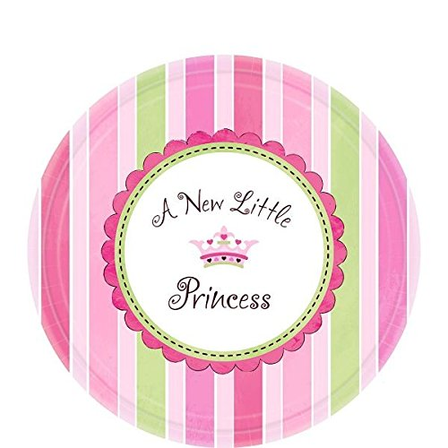 "Amscan Pretty Little Princess Baby Shower Party Supply Dessert Paper Plates, 7"", Pink/Green/Purple"