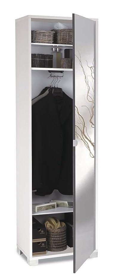 Mobile porta abiti in bianco fiammato con 1 anta in specchio effetto fumé e 4 ripiani interni