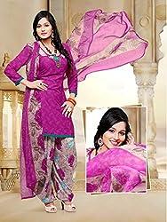 SareeShop Women's Georgette Semi-Stitched Dress Material (B2B1072_Purple_Free Size)
