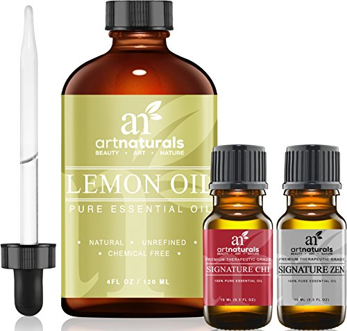 Art Naturals Lemon Essential Oil 4.0 oz 3pc Set - Includes Our Aromatherapy Signature Zen & Chi Blends 10ml Each Therapeutic Grade 100% Pure & Natural Review
