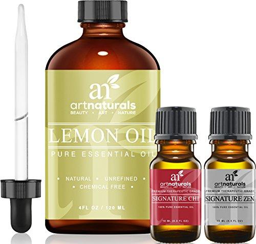 Art-Naturals-Lemon-Essential-Oil-40-oz-3pc-Set-Includes-Our-Aromatherapy-Signature-Zen-Chi-Blends-10ml-Each-Therapeutic-Grade-100-Pure-Natural