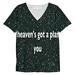 Snoogg See Heaven'S Got A Plan For You Mens Casual V Neck All Over Printed T Shirts Tees
