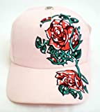 Tattoo Hat ~ Designer Red Rose Flower With Thorns Tattoo Art Pink Baseball Cap With Embroidery and Rhinestone Crystals; Great Gift Idea for Men, Women, and Teens. (Unisex Hat)