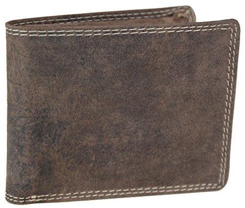 Vintage-Geldbrse-aus-geltem-Bffelleder-und-mit-Doppelnaht-Model-79861-Vollleder-in-Braun