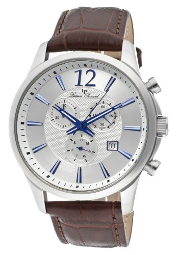Lucien Piccard Men's 11567-02S Adamello Chronograph Silver Textured Dial Brown Leather Watch