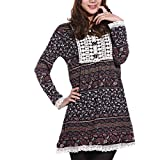 Allegra K XS Lace Trim Floral Printed Round Neck Autumn Tunic Dress for Lady