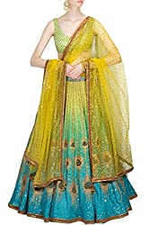 Fabron Blue and green peacock artwork & printed lehenga set with yellow glitter work on dupatta.