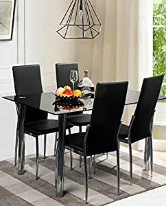 Merax 5 Piece Dining Set Glass Top Metal Table 4 Person Table An