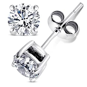2.00 Carat Cubic Zirconia Earrings. Set in 925 Sterling Silver Nickel Free Settings. 6.50mm Each Round Stone. 1.00 Carat Each. Nickel Free