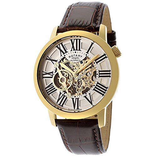 Men's Automatic Gold Tone IP SS Case Silver/Gold Tone Skeletonized Dial Brown Genuine Leather