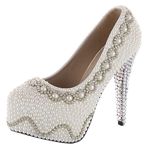"""Velcans Glitter Stiletto High Heels Bridal,Bridesmaids Wedding And Women Prom Shoes Of High Heel:5.5"""" (8.5 B(M) Us, Silvered)"""