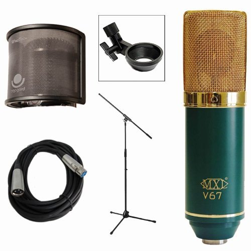 Mxl V67G Large Diaphragm Cardioid Condenser Microphone W Pop Guard, Stands & Cable