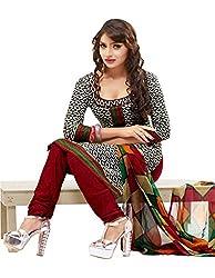 SareeShop Women's Georgette Semi-Stitched Dress Material (B2B3013_Red_Free Size)