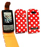 Emartbuy® Nokia Asha 303 Premium PU Leather Flip Case/Cover/Pouch Polka Dots Red / White And LCD Screen Protector