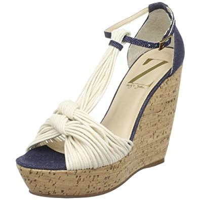 Sergio Zelcer Women's Wolfe Wedge Sandal,Natural Rope/Denim,6 M US