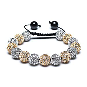 Bling Jewelry Shamballa Inspired Bracelet Golden Silver Crystal Balls 12mm