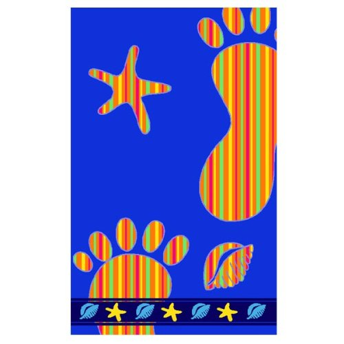 Footprint 100% Egyptian Cotton Velour Beach Towel, Blue