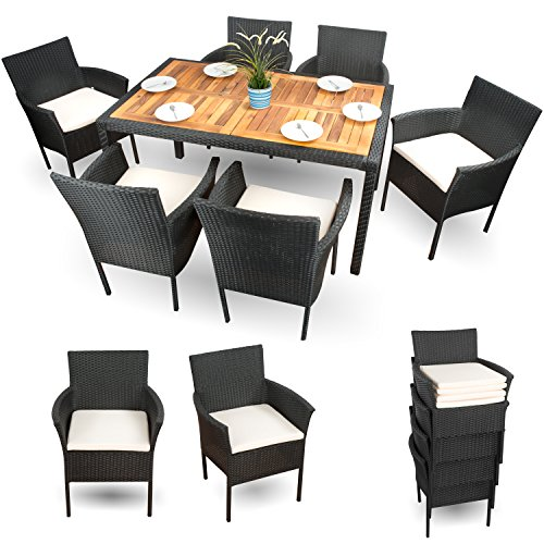 polyrattan esstisch set gartenm bel set teak sitzgruppe garten rattan 6 1 xxl garnitur schwarz. Black Bedroom Furniture Sets. Home Design Ideas