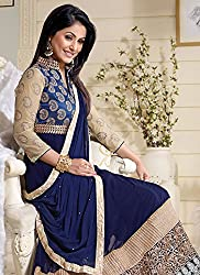 Shree Khodal Women's Blue Georgette Dress Material [SK_JCN1021_A]