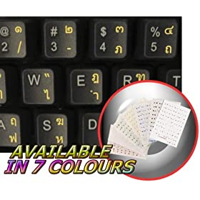 THAI KEYBOARD STICKERS WITH YELLOW LETTERING ON TRANSPARENT BACKGROUND
