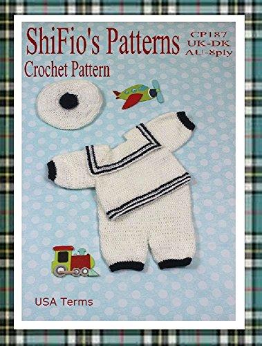 Crochet Pattern - CP187 - Baby Boy Sailor Suit - 0-3mths, 3-6mths, 6-9mths - USA Terminology