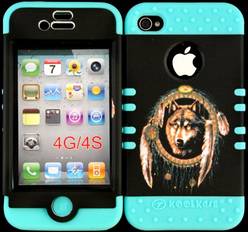 Hybrid Cover Case For Iphone 4 4S Wolf Dream Catcher Hard Plastic Snap On Baby Blue Silicone Gel front-911152