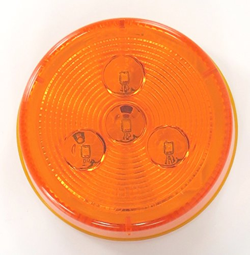 """Super Light - Amber Or Red 2 1/2"""" Round Grommet-Mount Clearance / Marker Led Light Only Without Grommet & Power Plug. For Trucks, Trailers & Rv'S"""