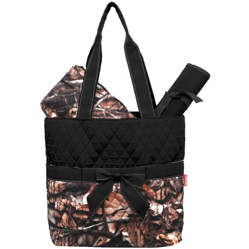 New Design Camo Quilted 3pcs Diaper Bag-black - 1