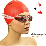 MOHA Swimming Goggles And Swim Cap, One Size/Red