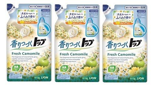 香りつづくトップ 洗濯洗剤 液体 フレッシュカモミール つめかえ用 810g×3個パック