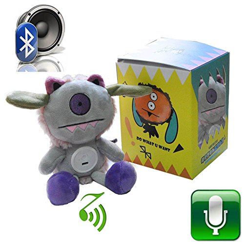 Kid Bluetooth Speaker ,Mini Wireless Speakers Monocular Gremlin Plush Toy Stuffed Animal Built in Microphone Rechargeable Battery -Halloween Gift , Grey