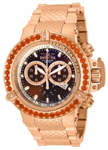 Invicta Mens Subaqua NOMA III Swiss Made Chronograph Fire Opel Bezel 18k Rose Gold Watch 14763