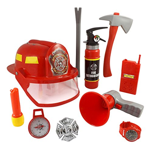10 Pcs Fireman Gear Firefighter Costume Play Set Helmet and Accessories