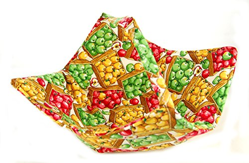 Fabric Microwave Bowl With Handle - Handmade In The Usa - Apples