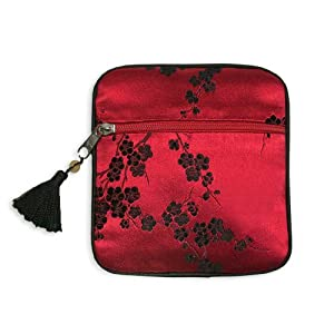 Tasseled Coin Pouch - Silk Brocade (Cherry Blsm Red & Black)