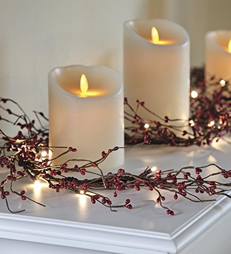Battery Operated Lighted Holiday Garland , In Red