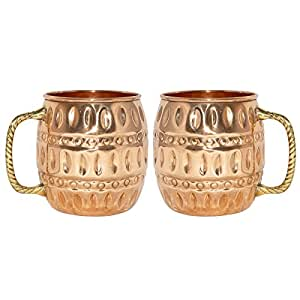 buy dakshcraft pure copper barrel moscow mule mug set of 2 online at low prices in india. Black Bedroom Furniture Sets. Home Design Ideas