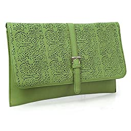 BMC Decorative Ornate Cut Out Design Forest Green Faux Leather Fashion Statement Envelope Clutch